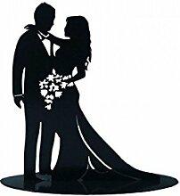 Figurine à gâteau couple de mariés, en métal.