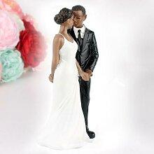 Figurine de mariée en peau noire, élégante,