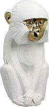 Figurine singe en résine blanc et doré H25