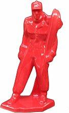 Figurine skieur rouge Méribel faïence
