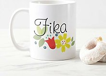 Fika Time Flowers White Tasse à café de 11 oz