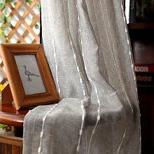 Fil de rideau brodé à rayures brunes modernes,