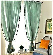 Fil de rideau de lin en coton vert menthe, couleur
