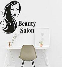 Fille Salon de coiffure sticker mural coupe de