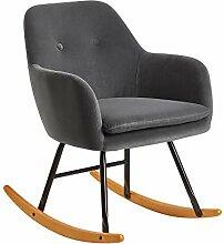 FineBuy Chaise à Bascule Gris foncé Scandinave
