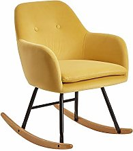 FineBuy Chaise à Bascule Jaune Scandinave 71 x 76