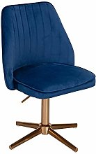 FineBuy Chaise De Bureau 80-100 cm Velours Bleu  