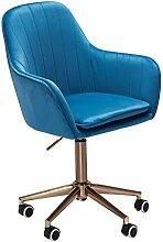 FineBuy Chaise De Bureau 85-105 cm Velours Bleu  