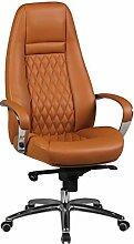 FineBuy Design Chaise de Bureau Caramel Fauteuil