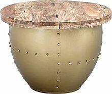 FineBuy Table Basse Or Bois Massif/Métal 60x43x60