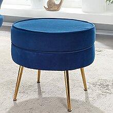 FineBuy Tabouret de Salon Bleu 51x46x51 cm