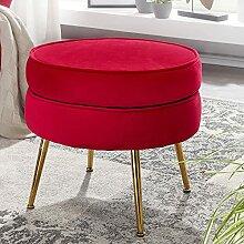 FineBuy Tabouret de Salon Rouge 51x46x51 cm