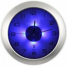 FISHTEC Horloge Murale Lumineuse - 4 LED Bleu -