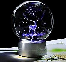 FISISZ Globe De Renne en Verre De Boule De Cristal