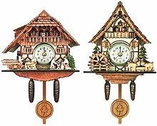 FLAMEER 2pcs Horloge Murale Coucou Antique Horloge