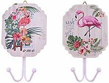 Flamingo Lot de 2 crochets porte-manteaux pour