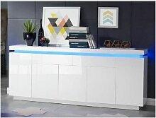 FLASH Buffet bas avec LED contemporain blanc laque