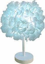 Fleur de soie bleue lampe de chevet abat-jour de