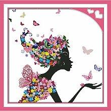 Fleur femme motif comptage croix ensemble 14CT DMS