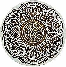 Floral Stamp main indien sculpté Art Brown