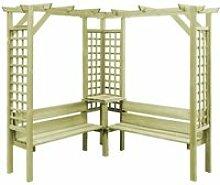 FNCM® Pergola d'angle avec banc Bois de pin