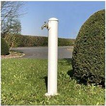 Fontaine à poser fonte de jardin robinet blanc 90
