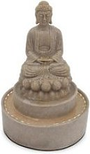 Fontaine bouddha assis  pierre naturelle gris