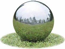 Fontaine de jardin sphere avec LED en acier