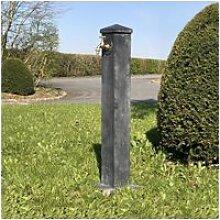 Fontaine jardin fonte tube extérieur grise 90 cm