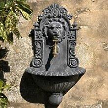 Fontaine Murale Jardin Tête de Lion Robinet Grise