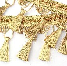 Franges de dentelle dorées pour couture,