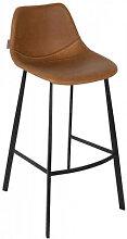 FRANKY 65 - Chaise de comptoir aspect cuir marron