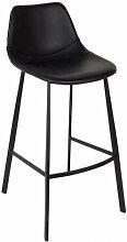 FRANKY 65 - Chaise de comptoir aspect cuir noir