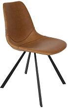 FRANKY - Chaise de repas aspect cuir marron vintage