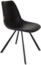 FRANKY - Chaise de repas aspect cuir noir vintage