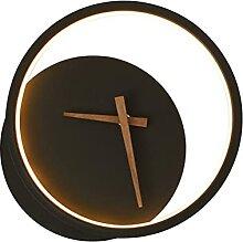 FRCOLOR Mur de Fer Lumière avec Horloge Noir