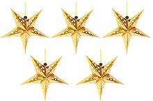 FRCOLOR Or Papier Étoiles Abat- Jour 5 Branches