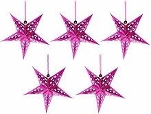 FRCOLOR Rose Papier Étoiles Abat- Jour 5 Branches