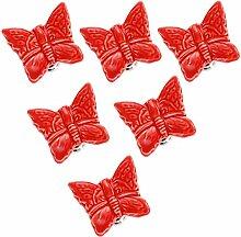 Frolahouse Lot de 6 boutons de porte rouges en