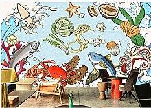 Fruits de mer dessinés à la main thème poisson