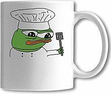 Funny Pepe The Frog Chef Meme Art White Ceramic