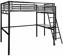 FURNISH 1 Lit Mezzanine Adulte en Noir métal