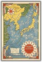 FUXUERUI Vintage japon carte carte du monde