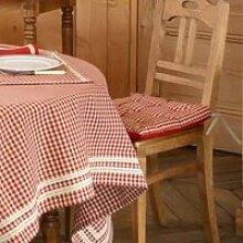 Galette de chaise carrée 100% coton à carreaux