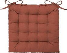Galette de chaise en coton terracotta 38x38 cm
