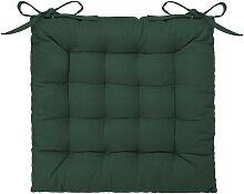Galette de chaise en coton vert cèdre 38x38 cm