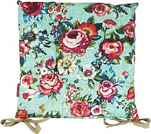 Galette de chaise outdoor motif fleuri bleu lagon