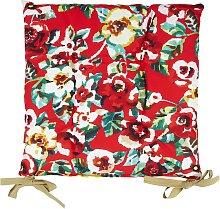 Galette de chaise outdoor motif fleuri rouge 37x37
