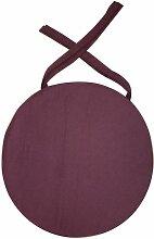 Galette de chaise ronde en coton 40 cm Aubergine -