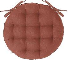 Galette de chaise ronde en coton terracotta D38 cm